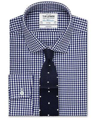 T.M.Lewin Non-Iron Navy Gingham Fitted Shirt