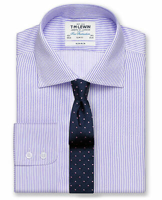 T.M.Lewin Non-Iron Lilac Bengal Stripe Slim Fit Shirt