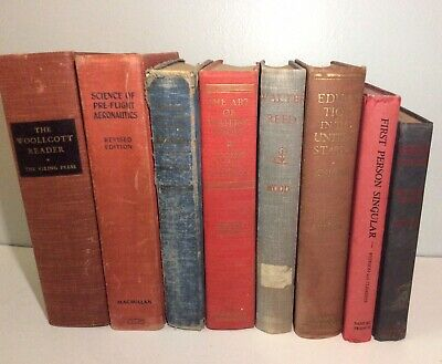 Lot of 8 Vintage Books from 1930's and 1940's, for Crafts, Props, or Collecting
