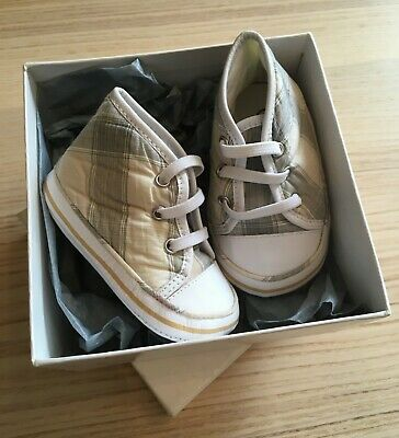 BURBERRY baskets souples bébé tartan beige P.17  NEUVES