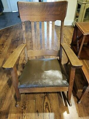 Antique Rocking Chair Smith Day & Co. quarter sawn oak mission style
