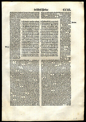 St Jerome's Prologue to The Book of Joshua 1497 Large Incunable Bible Leaf