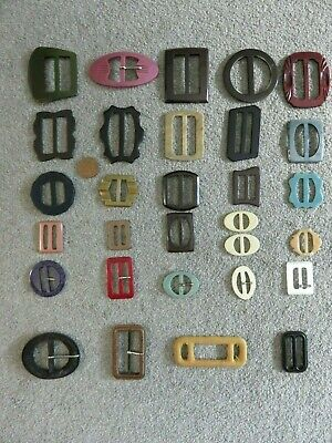 Job Lot 30 Vintage Buckles 1940s 50s