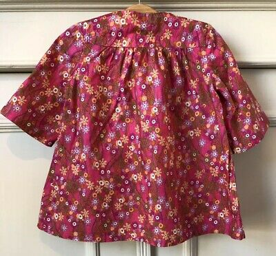 LITTLE M Hot Pink Cotton Vintage Style 70's Floral  Dress Age 12 Months 1 Year