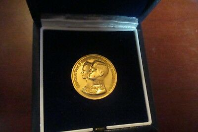 Greece 1964 Commemorative Gold medal Constantine II Marriage of Anna Maria 10gr