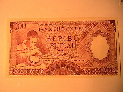 1958 Indonesia 1000 Rupiah Ch CU Indies Paper Money Banknote Currency P-61