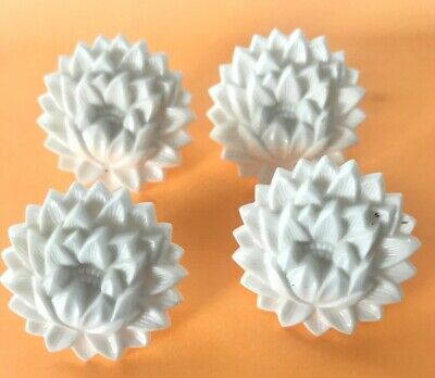 """4 Vintage Curtain Holder Tie Back Push Pin White Floral 1 1/2"""""""