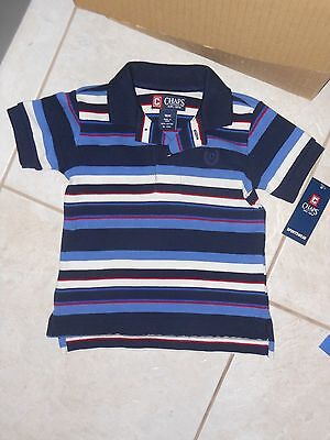 NWT - Chaps short sleeved blue, white, red & navy striped polo shirt - 18 mos