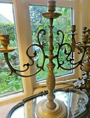 Superb Antique French Solid Brass Scrolling Three Branch Candelabra C.1900