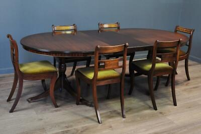 Attractive Large Bevan Funnell Mahogany Dining Table & 6 Upholstered Chairs