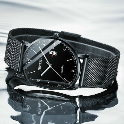 Black Men's Stainless Steel Quartz Analog Date Mesh Strap Wrist Watch Waterproof