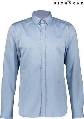 "(END1/12) £239 John RICHMOND 'X' CAMICIA Dot Tailored Dress Shirt 16.5"" IT48 M/L"