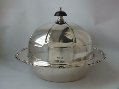 Stylish Art Deco Solid Sterling Silver Muffin Dish 1934/ Dia 18.3 cm/ 613 g
