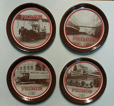 Primus Pils Lager RARE Set4 Vintage Metal Beer Mats Coasters French Trucks 1960s