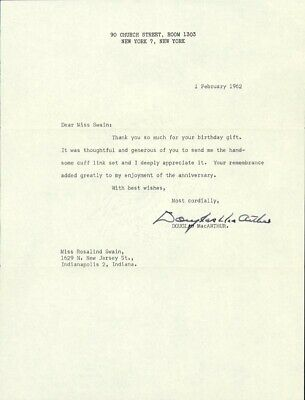 Douglas Macarthur - Typed Letter Signed 02/01/1962