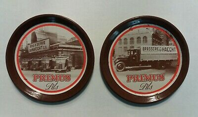 Primus Pils Lager RARE Pair Vintage Metal Beer Mats Coasters French bar 1960s
