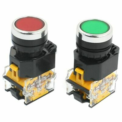 1X(2pcs 22mm Mount 10A 380V DPST Red Green Momentary Push Button Switch R5F1)