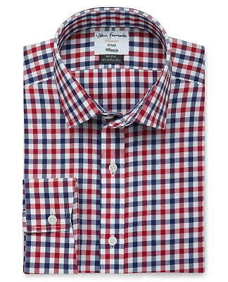 T.M.Lewin Non-Iron Fitted Navy Red Check Twill Shirt
