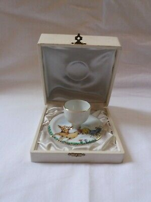 Rare Limoges France Antique Signed Hand Painted Egg Cup Original Satin Lined Box
