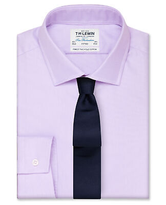 T.M.Lewin Fitted Lilac Oxford Button Cuff Shirt