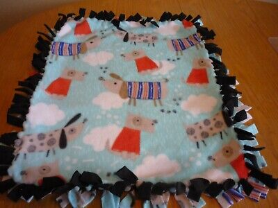 Handmade PLUSH  fleece tie blanket of rainy day dogs for a small pet