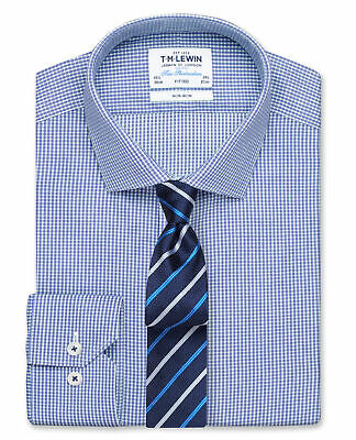 T.M.Lewin Non-Iron Fitted Navy Micro Check Twill Shirt – Button Cuff