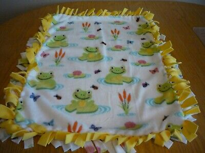 Handmade PLUSH  fleece tie blanket of frogs on pads for a small pet