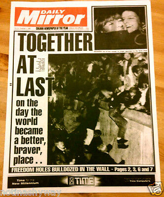 Newspaper 89 Fall of Berlin Wall West East Germany Cold War Nelson Mandela Free
