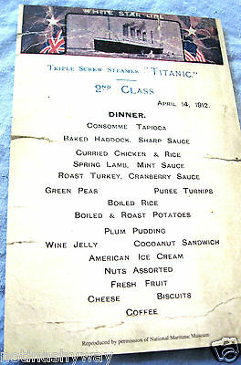 TITANIC Menu Restraunt Antique Vintage Retro Old London Hotel Card New York US