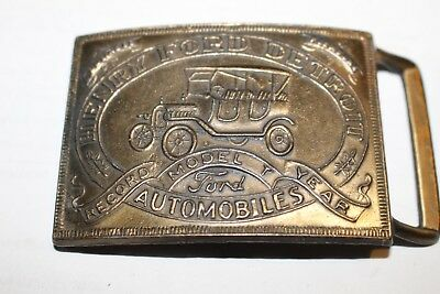 "Belt Buckle-Brass-I Believe Henry Ford Detroit Automobiles ""Model T Record Year"""