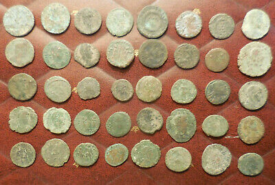 Lot of 40 Ancient Late Roman Coins, Largest 21 mm and all have Details!