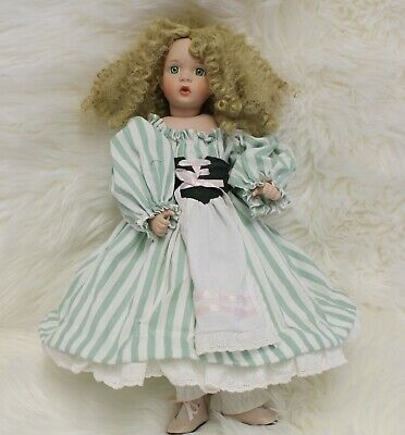 "3980 Wendy Lawton Porcelain Doll 16"" Blonde Curly Hair Green Eyes Crying Tears"