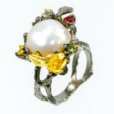 Unique 13x12ct Natural Baroque Pearl 925 Sterling Silver Ring Size 8.25/R22851
