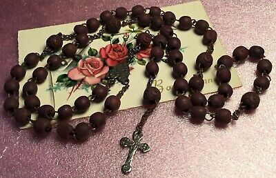 Antique Art Deco Old Distressed Carved Wood 5 Decade Our Lady Rosary Beads