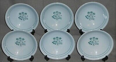 Set (6) Booths Blue Mist CANTERBURY - GREEN PATTERN Cereal/Soup Bowls ENGLAND