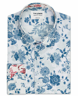 f70a1b81 T.M.Lewin Premium Liberty Jannah Print Slim Fit Blue and Cream Single Cuff  Shirt