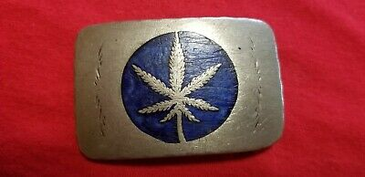 Vintage Hand Made Marijuana Inlay Western Belt Buckle German Silver?