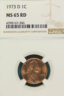 1973-D NGC MS65 RED Lincoln Memorial Cent!! #A6938