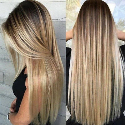 Hot Women Synthetic Long Straight Hair Ombre Blonde Wig Heat Resistant Full Wigs