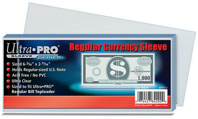 ULTRA PRO Regular Currency Sleeve (100 Count) NEW for money notes bills dollars