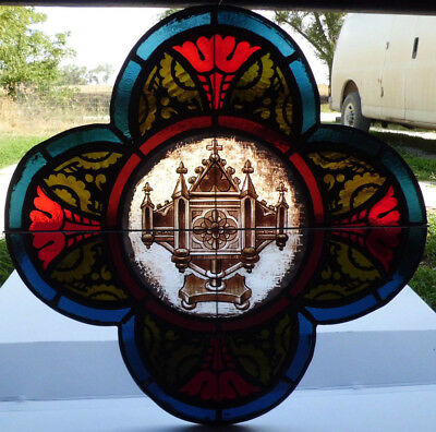 Antique Victorian Church Stained Glass Window Architectural Salvage 1872 W123