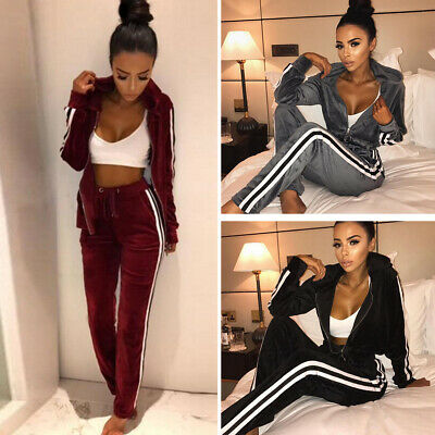 Latest Women Athletic Tracksuit Outfits Hoodie Sweatpants Striped Outwear Pants