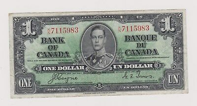 1937 King George Vi  Bank Of Canada   One Dollar Bill