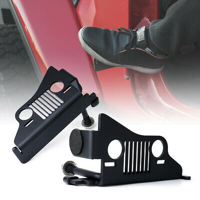 Xprite Front Black Steel Foot Pegs with Jeep Face for 2018-2019 Jeep Wrangler JL