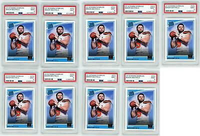 (9) 2018 Panini Donruss RATED ROOKIE Baker Mayfield RC LOT #303 PSA 9 MINT