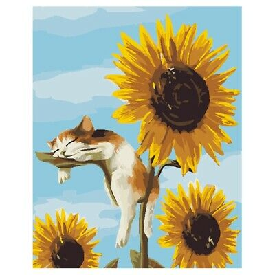4X(Frameless Cats Sunflowers Oil Painting DIY Digital Coloring Wall Arts Pi H7K7