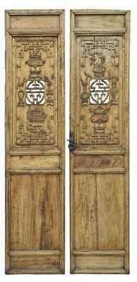 Pair of Antique Chinese Carved Architectural Wood Doors 19th Century Asian