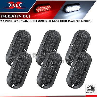 """6 X 6"""" 24 LED Oval Smoked Lens 4 Red 2 White Reverse Stop Trailer Tail Light 12V"""