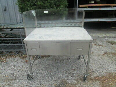 "48x36"" Stainless Food Prep Table w/ Poly Work Top & Splash Guards w/ Drawers"