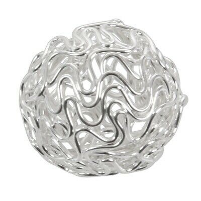 1X(10x Twist Ball Wire Spacer Beads Hollow Round Silver 18mm(1inch)Dia. -Je 5T3)